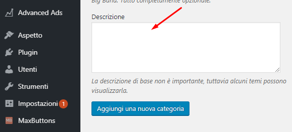 wordpress descrizione categoria
