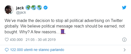 jack dorsey tweet stop pubblicità politica